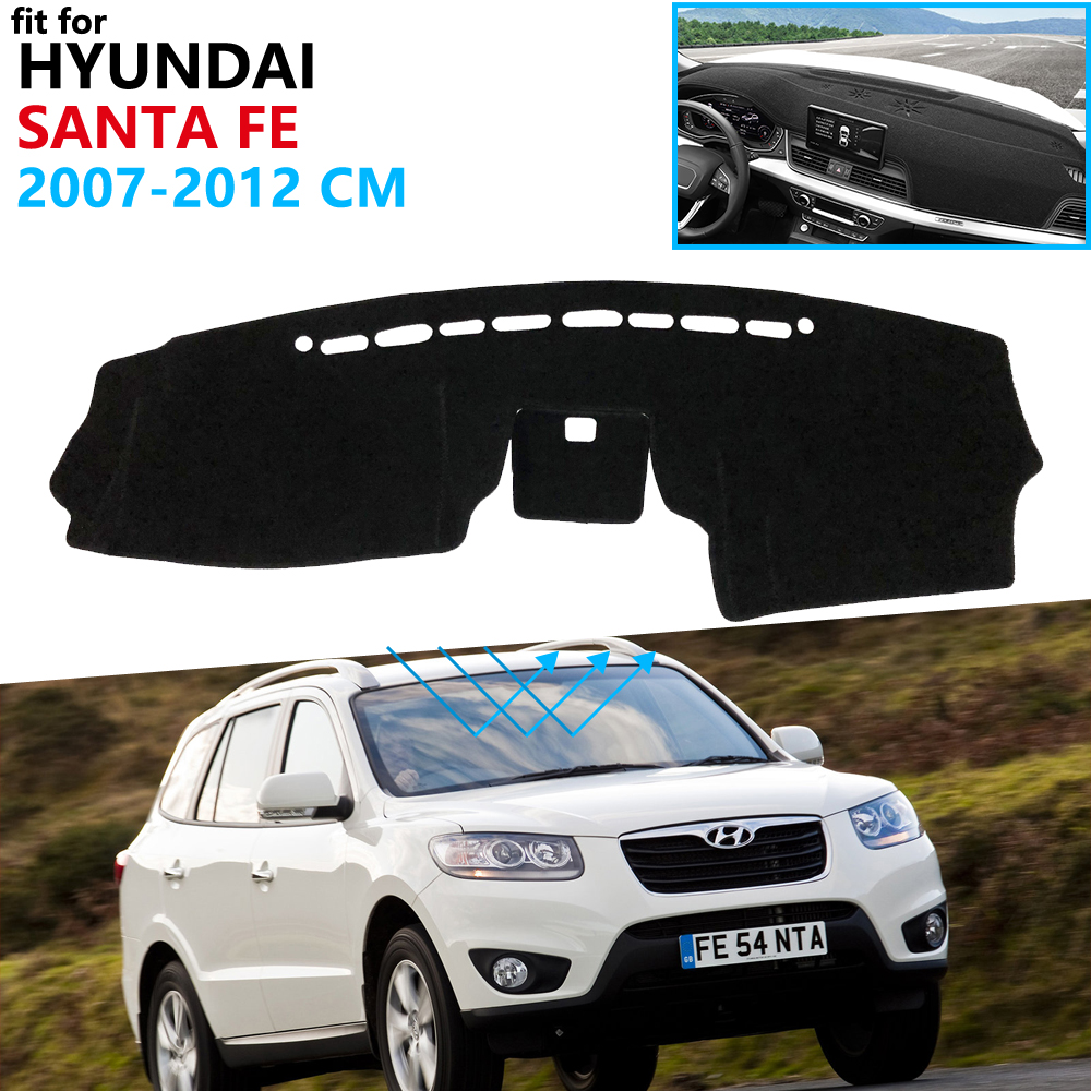 Dashboard Cover Protective Pad for <font><b>Hyundai</b></font> <font><b>Santa</b></font> <font><b>Fe</b></font> 2007 2008 2009 2010 2011 2012 CM Car <font><b>Accessories</b></font> Dash Board Sunshade Carpet image