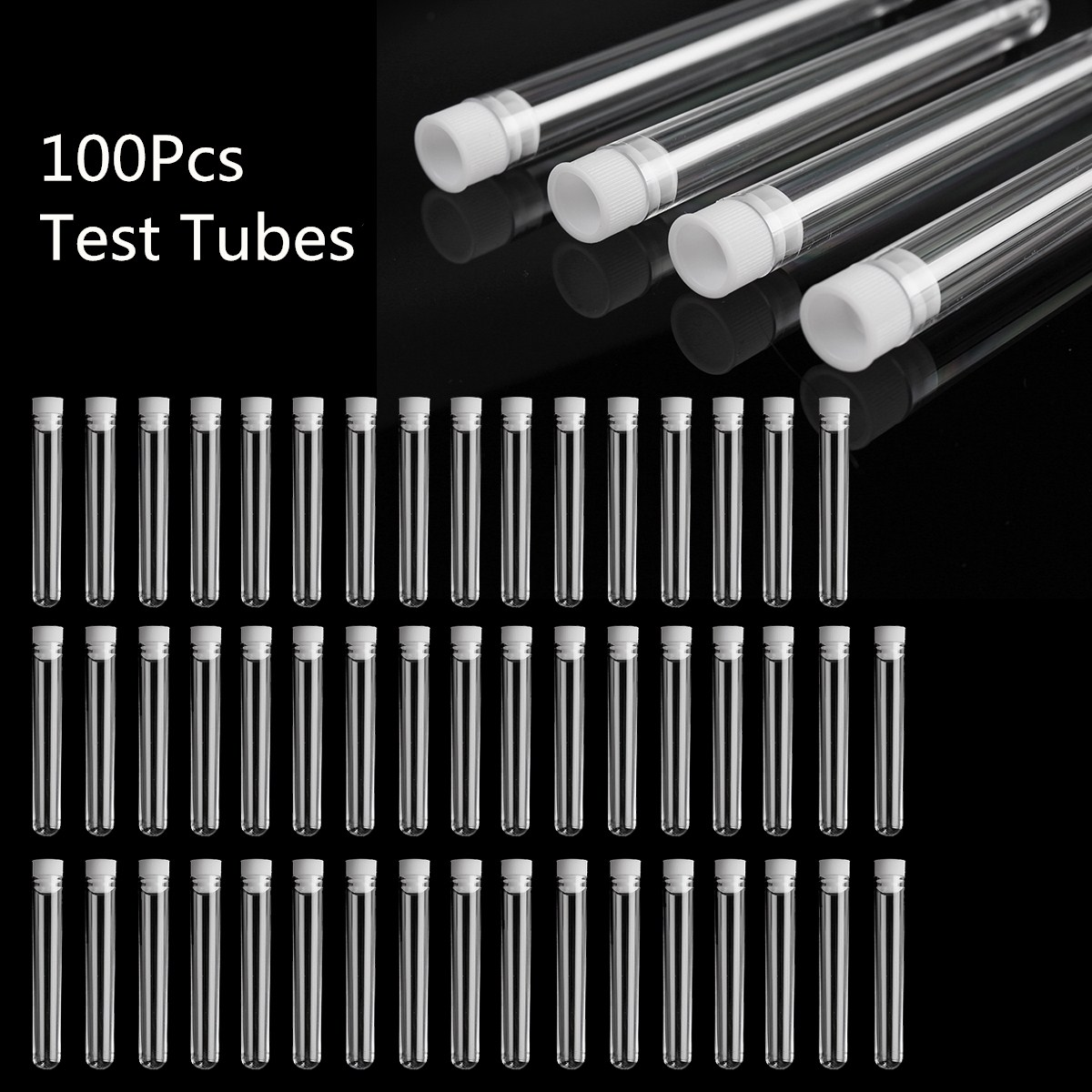 100Pcs Clear Plastic Test Tube With Cap 12x100mm U-shaped Bottom Long Transparent Test Tube Lab Supplies