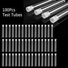 100Pcs Plastica Trasparente Provetta Con Tappo 12x100 millimetri a forma di U di Fondo Lungo Trasparente Tubo di Prova forniture di laboratorio