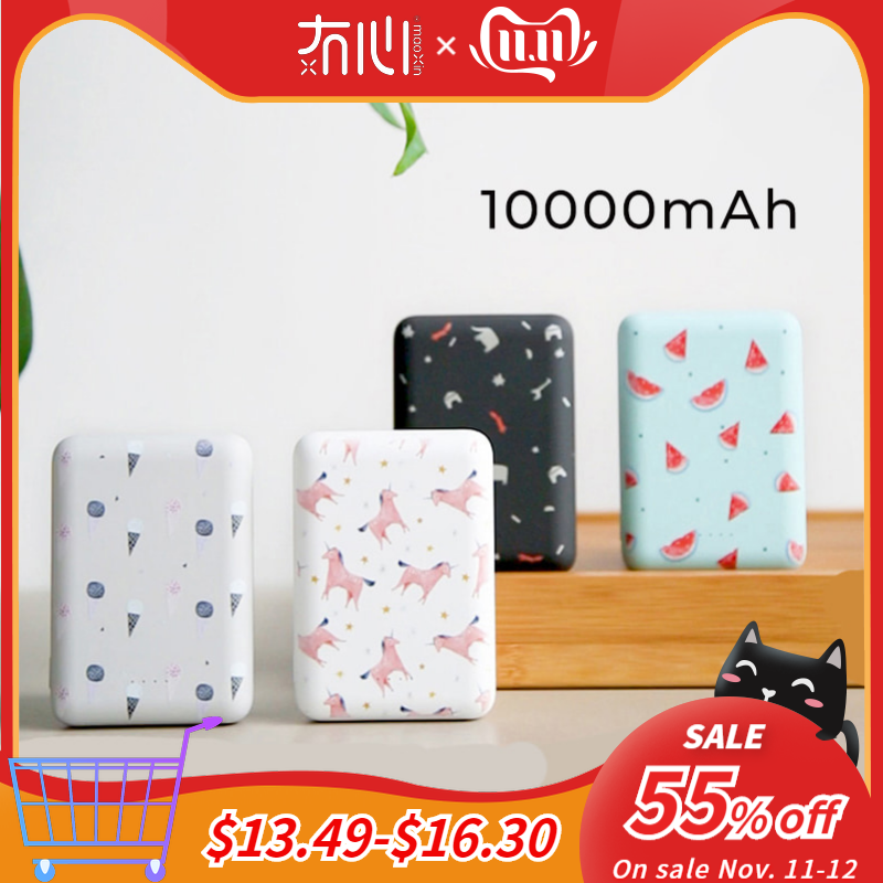 Maoxin mini power bank 10000mAh dual USB output portable cute pattern with lollipop micro charing cable