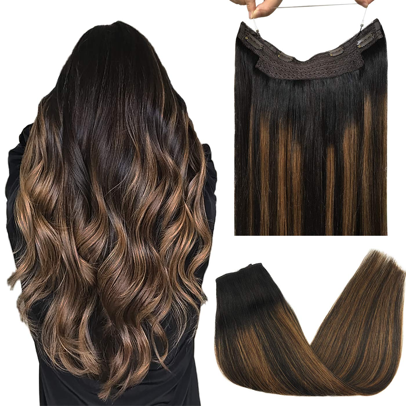 Fish Line Human Hair Extension Invisible Wire Hair Extensions Remy Hair Halo Hair Extensions Straight  Fishing Wire with 4Clips