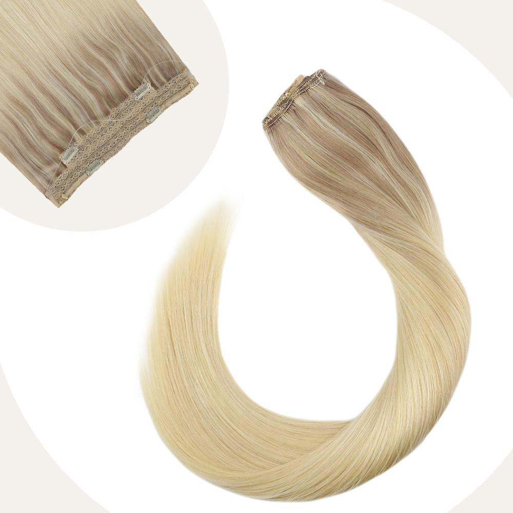 Ugeat Halo Hair Extensions Blonde Color 12-22