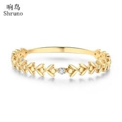 Shruno diamentowy pierścionek z litego 10K żółtego złota okrągły pełny krój SI/H naturalny diamentowy liść kształt modny pierścionek z biżuterią prezent