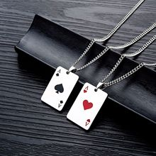 Lucky Ace of Spades Heart A Mens Stainless Steel Necklace Poker Pendant for Male Casino Fortune Playing Cards Dropshipping лонгслив printio ace of spades