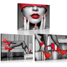 Chaussures en toile à talons hauts, imprimé noir et rouge, chaussures à la mode, toile imprimée, Sexy femme, lèvres et jambes, affiche, cadre, œuvre d'art étirée