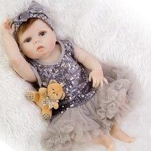 NPKDOLL 55cm cuerpo completo de silicona Reborn Baby Doll juguete como Real 22 pulgadas niña recién nacida princesa bebé reborn l o l muñeca regalos