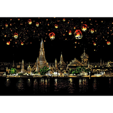 Chiangmai Night Scene DIY Scratch Paintings Art Drawings for Kids Gifts Art Drawings Child Educational Toys