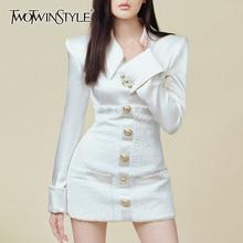 TWOTWINSTYLE ファッション潮 2019 サテンパッチワーク夏ドレス女性ラペルカラー長袖ハイウエストミニドレス女性