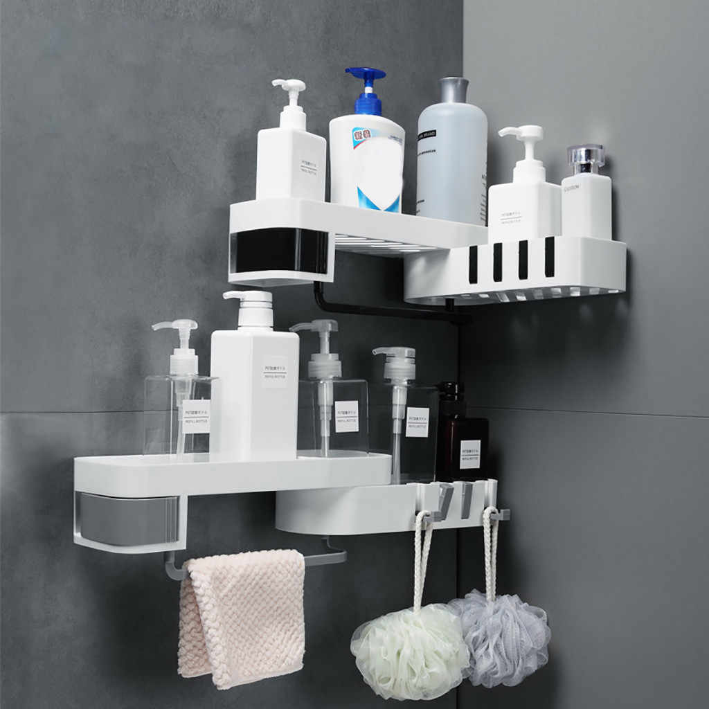 Plastic Suction Cup Bathroom Kitchen Corner Storage Rack Organizer Shower Shelf prateleira almacenamiento y organizacion 2019