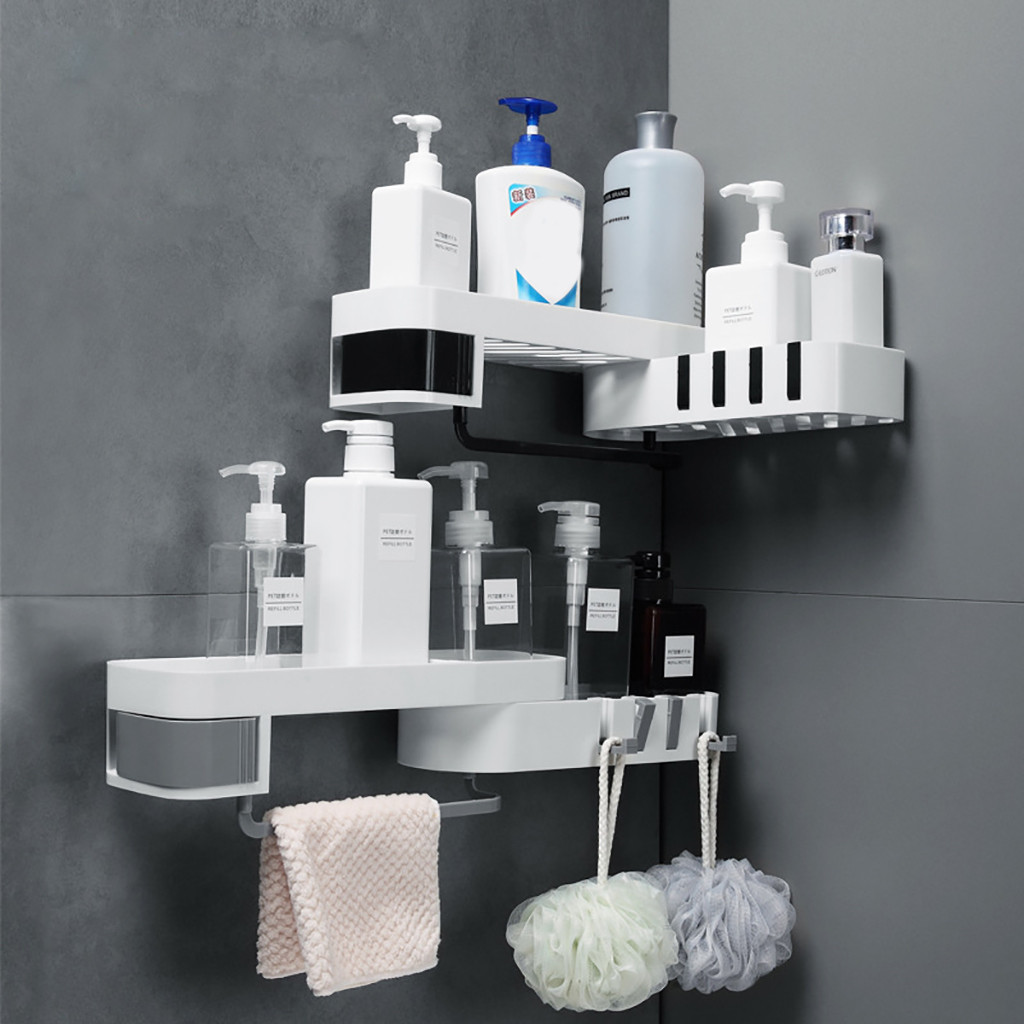 Organizer Storage-Rack Shower-Shelf Suction-Cup Kitchen-Corner Bathroom Plastic Prateleira title=