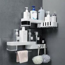 Plastikowe przyssawki łazience półka kuchenna narożna organizator stojaków półka po prysznic prateleira almacenamiento y organizacion 2020