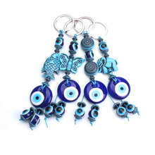2019 New Fashion evil eye elephant Key Chain trendy metal blue Keychain pendant for woman man Gift