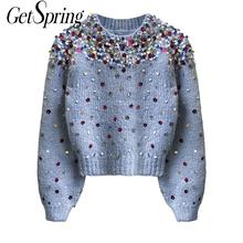 Knit Sweaters Sequins Vintage Pullovers Patchwork New-Fashion Casual Tops GETSPRING