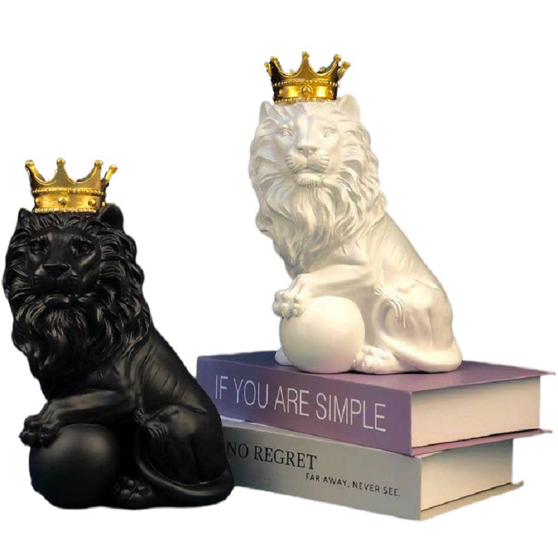 Abstract Crown Lion Ornaments Sculpture Home Office Male Lion Ball Resin Statue Living Room TV Bar Crafts Animal Art Decor Gift