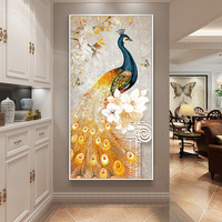 Peacock Gold Canvas Painting Modular Abstract Art Frame Poster HD for Living Room Home Decor Landscape Wall Art Print Pictures