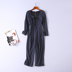 2020 Европа и США Мода темперамент коммутируют тонкий весенний Новый женский полосатый комбинезон на шнуровке с поясом
