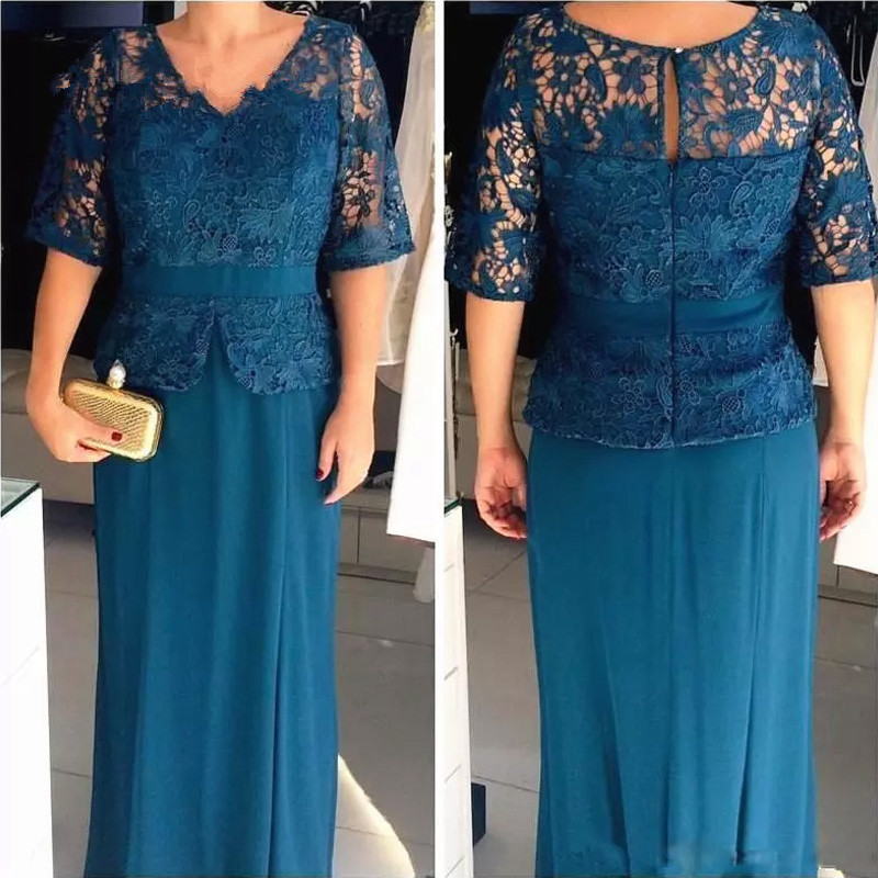 H Elegant Bride Mother Dresses Plus Size Women Evening V Neck Lace Appliques Sheath Navy Blue Half Sleeve Evening Gown For Women