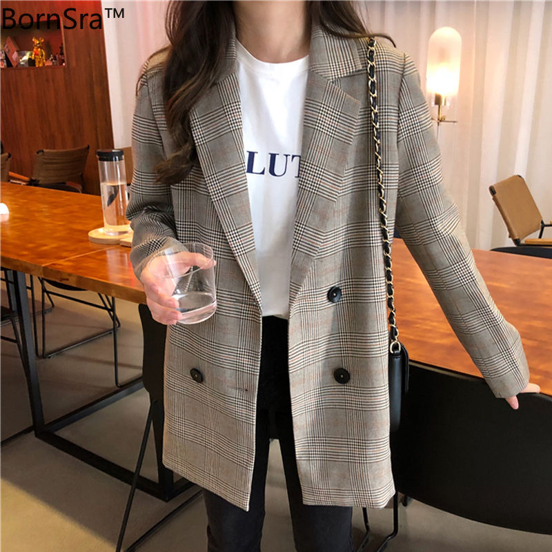 BornSra 2020 Casual Pockets Female Suits Coat Office Ladies Notched Collar Plaid Women Blazer Double Breasted Autumn Jacket