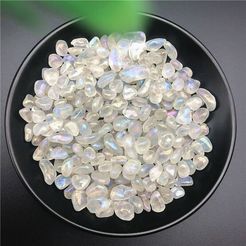 50g Rainbow Titanium Aura White Quartz Crystal Stone Moonstone Gravels Decoration Healing Stones and Minerals
