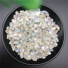 50g arco-íris titânio aura branco quartzo pedra de cristal moonstone gravels decoração cura pedras e minerais