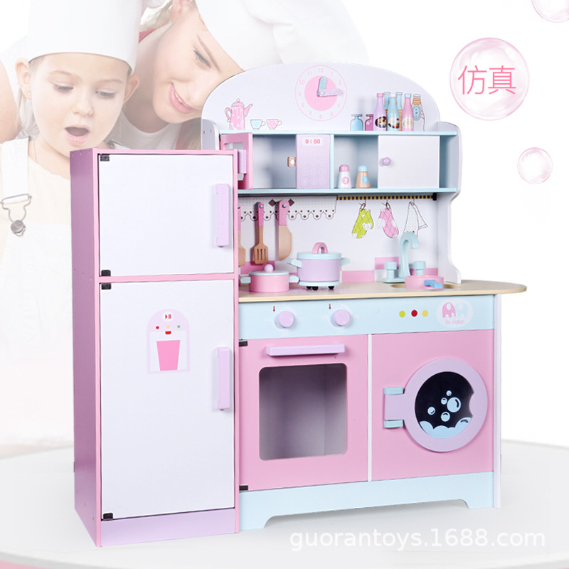 Children ENLIGHTEN Wood Large Kitchen Refrigerator Kindergarten Early Childhood Parent And Child Educational Play House Toys