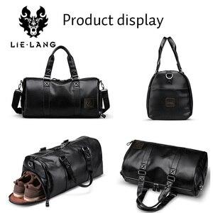 Image 3 - LIELANG ชายสีดำกระเป๋าถือหนังกันน้ำขนาดใหญ่ความจุ Duffle Multifunction Tote Casual Crossbody กระเป๋า