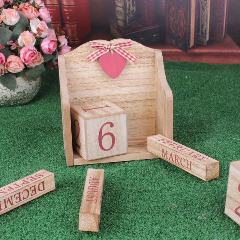 Image 5 - Vintage Wooden Perpetual Calendar Month Date Display Eternal Blocks Photography Props Desktop Accessories Home Office DecorationCalendar   -