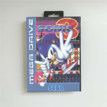 Sonic the Hedgehog 3 - EUR Cover With Box 16 Bit MD Game Card for Megadrive Genesis Video Game Console 1
