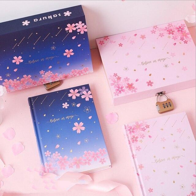 """""""סאקורה קסם"""" מנעול תיבת יומן חמוד יומן בנות מכתבים מתנה"""