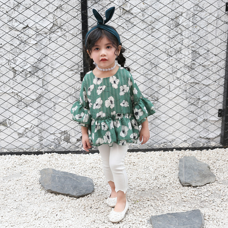 New Style Girls New Style Korean-style Children Baby Cute Floral-Print Trumpet GIRL'S Shirt Half-sleeve Shirt Tops