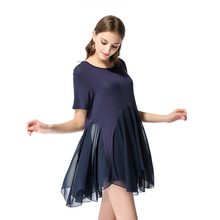 Dress Women Summer New Womens Fashion Short-sleeved Chiffon O-neck Clothes Plus Size Mini Solid Color
