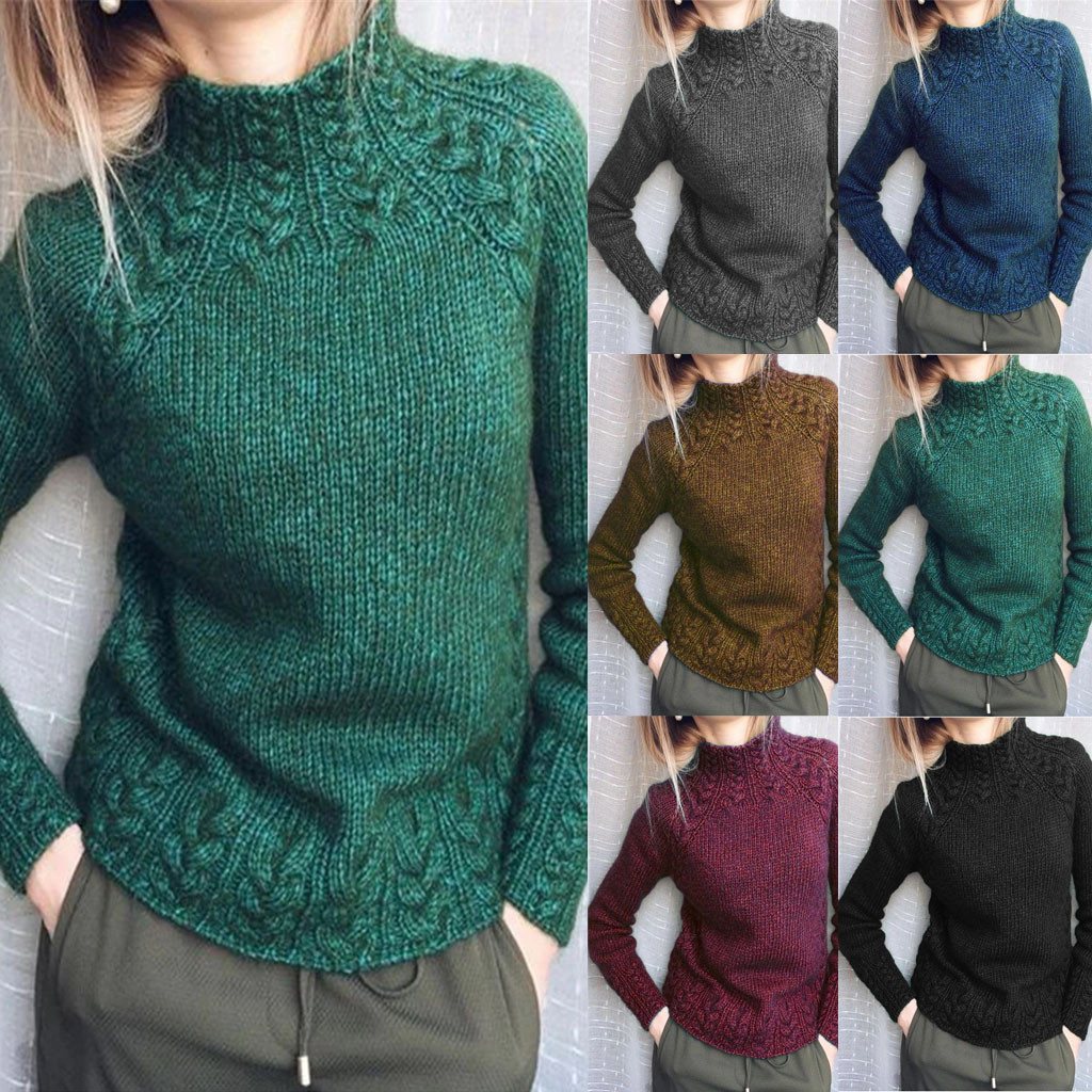 2020 NEW Women Sweater Solid Color Linen Sweater Knitted Turtleneck Sweater Ropa Mujer Hot Sale