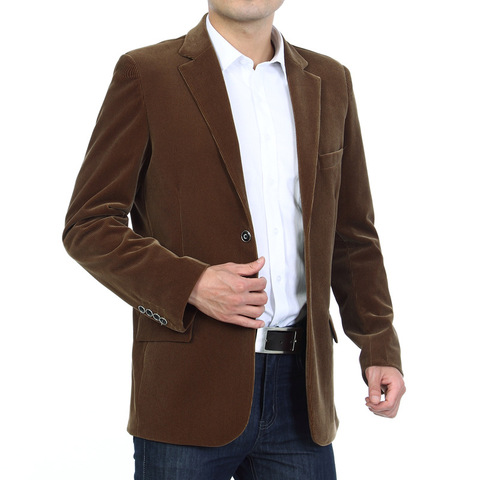 Mens Corduroy Blazers 2018 Autumn Men Blazer Smart Casual Jacket Solid Camel Black Cotton Business Suit Jackets Men Officer 4XL Pakistan