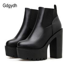 Gdgydh Leather Womens Boots Spring Autumn Basic Solid Color Ladies High Heeled Shoes Platform Square Heel Working Comfortable