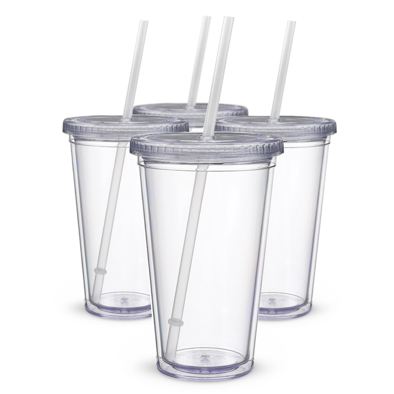 Water-Bottles Tumblers Drinking-Cups Straw-Type Clear Acrylic Classic Double-Wall Insulated title=