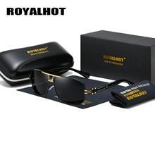 RoyalHot Men Women Polarized Rectangle Aloy Frame Sunglasses