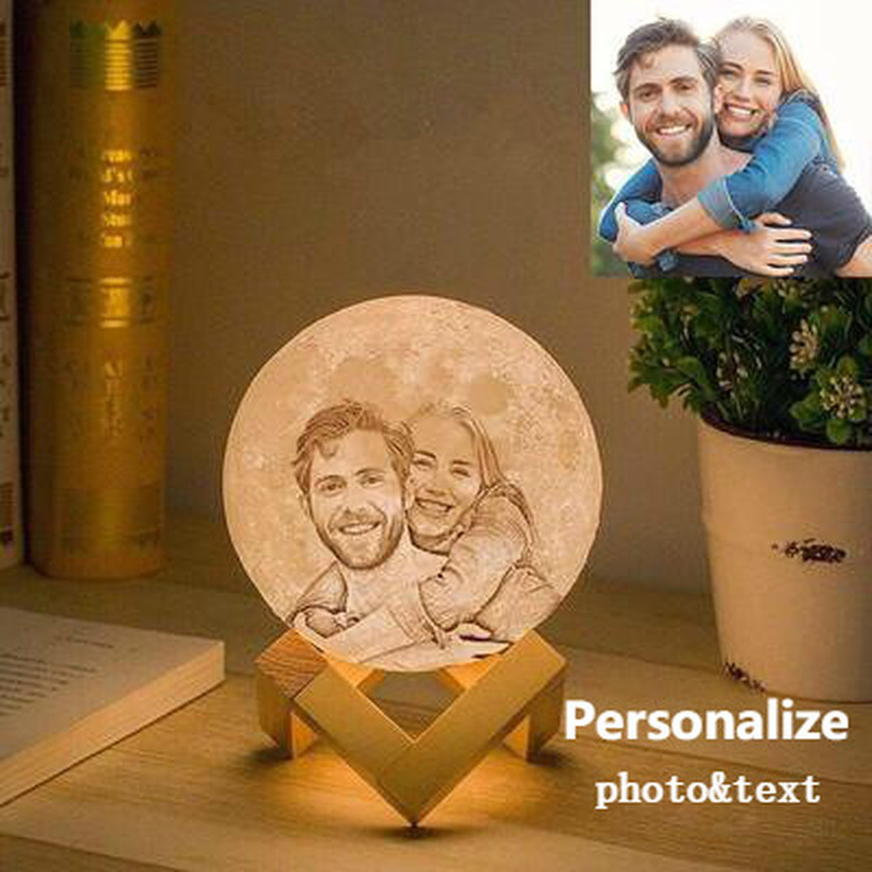 Creative Photo/Text Customized 3D Printing Moon Lamp Custom Personality USB Recharged Moon Night Light Romantic Kids Adult Gift