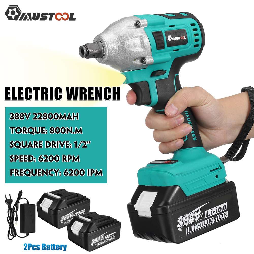 MUSTOOL 388VF Brushless Electric Screwdriver Cordless Impact Wrench 22800mAh Li-ion Batery 800N m Torque Wrench Power Tools