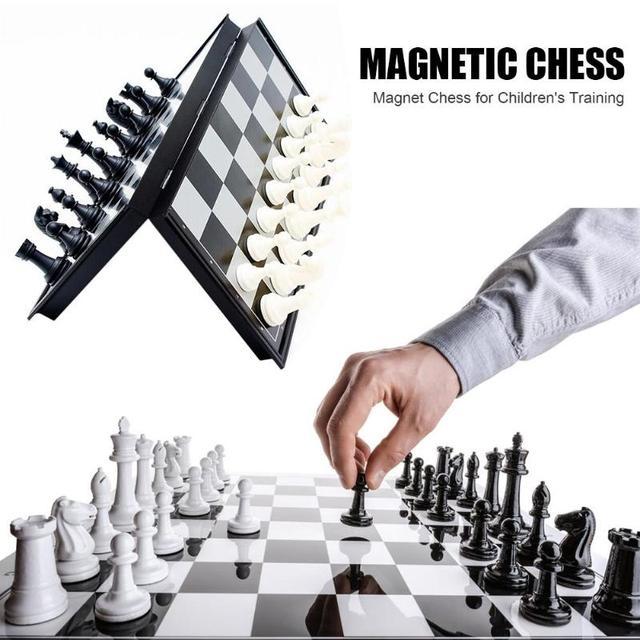 Jeu de dames de Backgammon magnétique d'échecs jeu de société pliable jeu d'échecs pliant International jeu de société Portable d'échecs 1