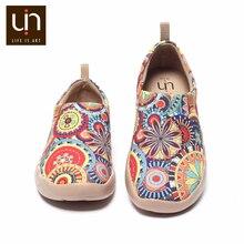 Uin blossom tênis casuais apartamentos moda feminina floral arte pintada lona mocassins deslizamento on senhoras conforto sapatos de viagem
