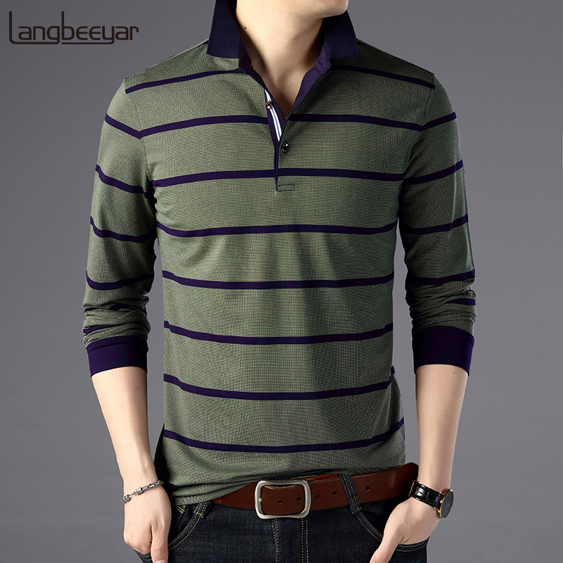 2020 New Fashions Brand Designer Clothing Polo Shirts Men Striped Slim Fit Long Sleeve Korean Boys Polos Casual Men's Clothing
