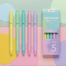 Caneta de gel retrátil, caneta de tinta preta com 5 cabeças colorida fofa para crianças e adultos escritório