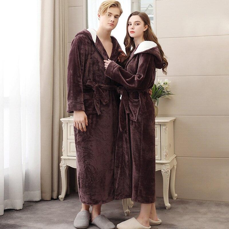 Men Winter Warm Thicken Extra Long Hooded Coral Fleece Bathrobe Kimono Flannel Bath Robe Night Dressing Gown Women Sleepwear