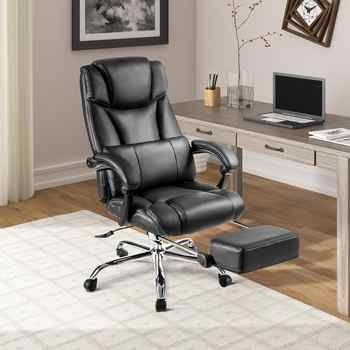 Black Office Chair Home Furniture Boss Computer Massager Chair Support Cushion With Footrest Unique Deisgn Gaming Chair - DISCOUNT ITEM  40 OFF Furniture