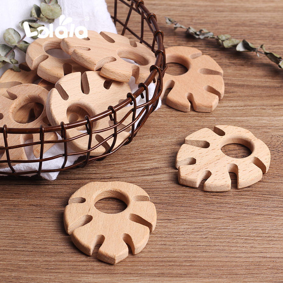 10pcs Natural Maple Leaf Shape Baby Teether Teething Toys Food Grade Beech Teether Baby Bite Wooden Color Tooth Dental Care Toys