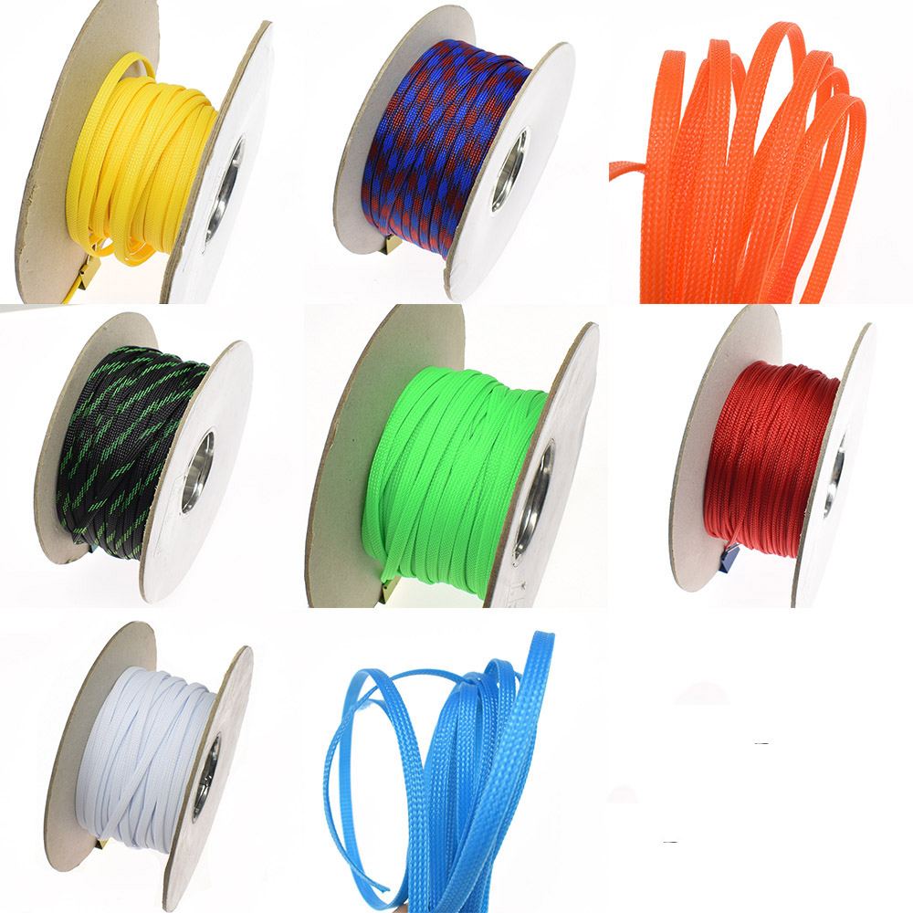 wiring harness protection 1meter 3 4 6 8 10 12 14mm wire cable protecting color pet nylon  14mm wire cable protecting color pet