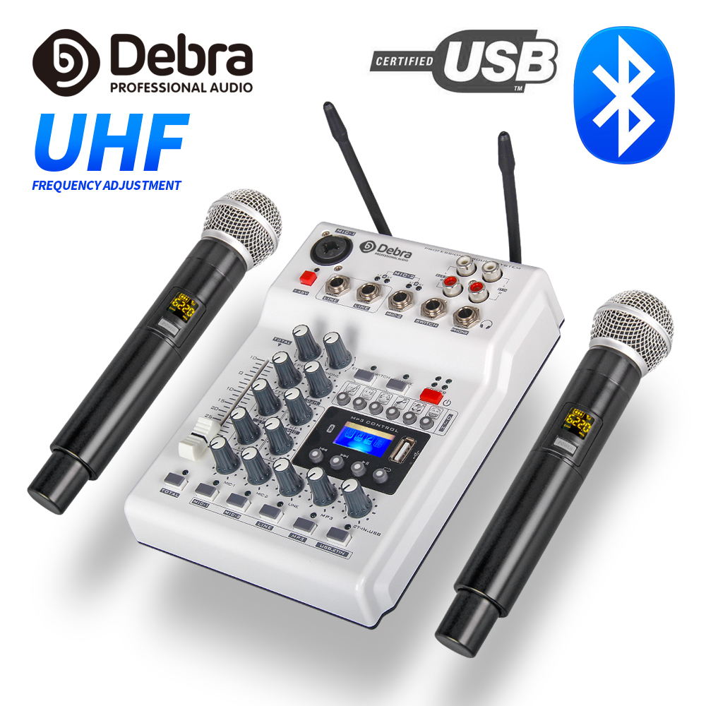 DebraAudio DJ Console Mixer Soundcard With 2channel UHF Wireless Microphone For Home PC Studio Recording DJ Network Live Karaoke