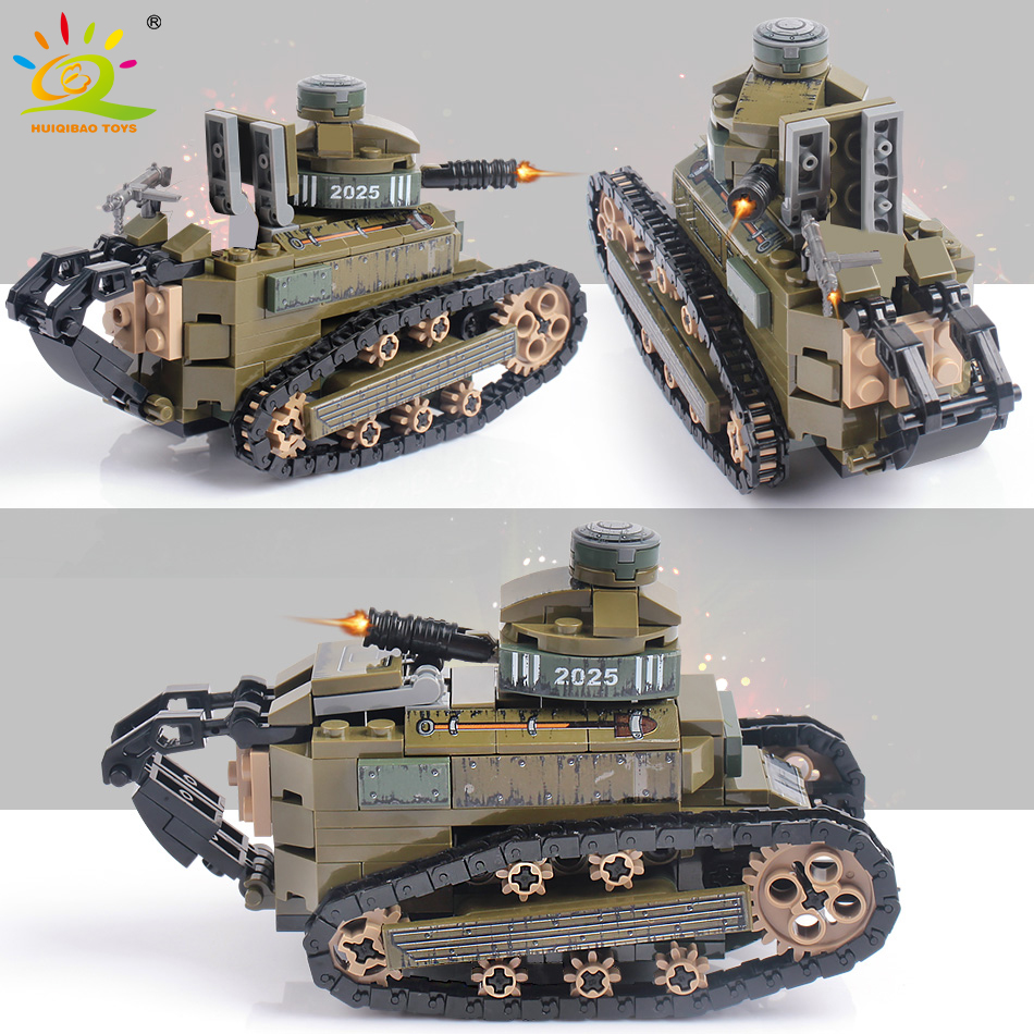 HUIQIBAO 368pcs Military FT17 Tanks Panzer Building Blocks Tank Army Soldier Figures City Weapon Bricks Toys For Children