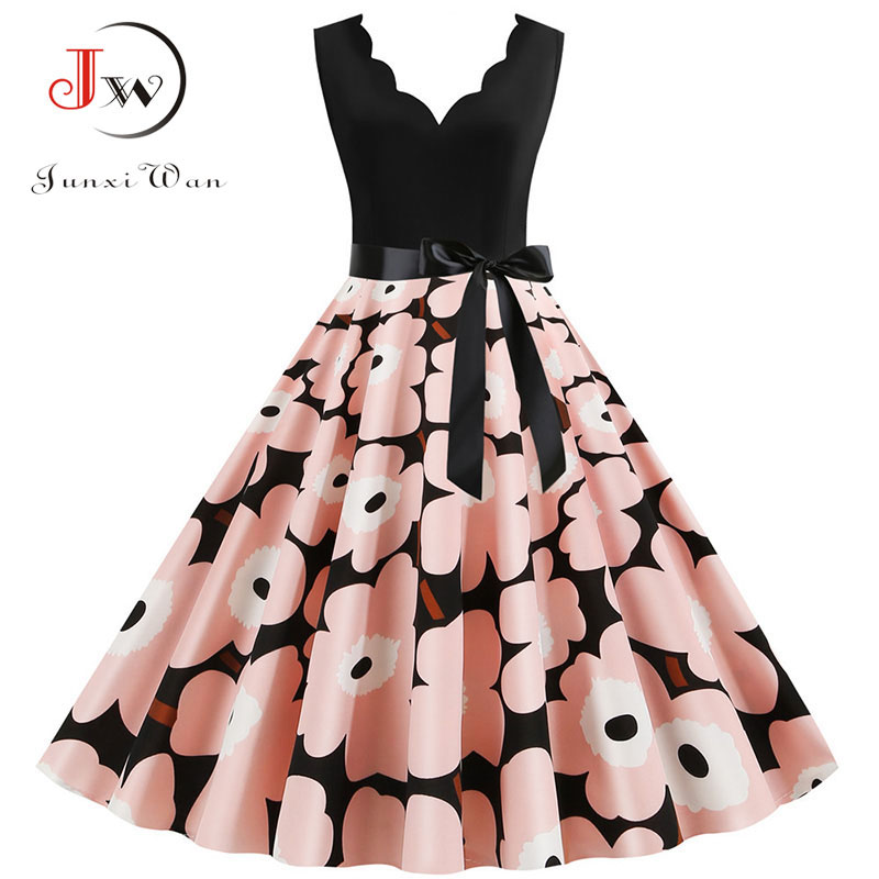 S~3XL Plus Size Vintage Summer Dress Women Robe Femme Fashion Pink Sleeveless Elegant A-line Midi Party Vestidos With Belt