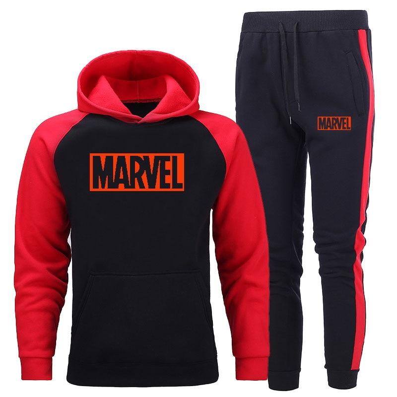 New Tracksuit Men Sets Hit Color Splice Hoodie Sportswear Marvel Hoodies Suit Fashion Hooded Sweatshirts Sweatpants Two-piece